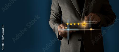 Stampa su Tela Customer service evaluation Service rating Businessman Service rating  emoticon
