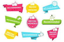 Recommend Banners. Badges For Marking Best Products Or Goods With Approved Quality. Recommendation Stickers. Ribbons And Signs Of Fists With Raised Thumbs. Vector Promotional Icons Set