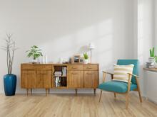 Modern Mid Century And Vintage Interior Of Living Room ,empty Room