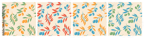Fototapeta Seamless pattern of red olive branches background elements. Vector stock illustration. Prints on fabric, printed matter and wrapping paper. For greeting cards. A set of patterns for design. obraz