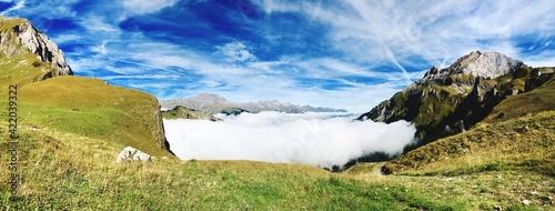 Obraz na plátně Panoramic View Of A Land Against Sky