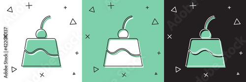Fototapeta Set Pudding custard with caramel glaze icon isolated on white and green, black background