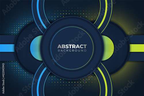 Fototapeta Halftone Circle Blue and Yellow Background with Glow Effect obraz