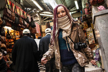 Tourist Young Woman At Jerusalem's Old City Market, Israel