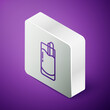 Isometric line Cocktail Bloody Mary icon isolated on purple background. Silver square button. Vector