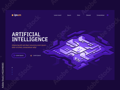 Vector landing page of Artificial Intelligence concept Wallpaper Mural