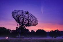 Neowise Comet Passing Radio Telescope Park At Night