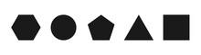 Black Geometric Shapes On A White Background. Install Basic Geometric Brushes. Vector Illustration.