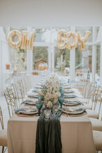 Baby Blue And Gold Table Setting At A Baby Party, Baby Shower, Gender Reveal Party