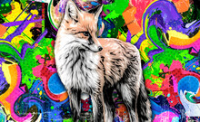 Graffiti On The Wall With Fox