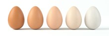 Sorted Five Shades Of Egg. Different Colors Of Egg Sorted In A Row. 3d Illustration, Suitable For Food, Egg And Farm Themes.