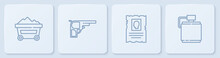 Set Line Coal Mine Trolley, Wanted Western Poster, Revolver Gun And Canteen Water Bottle. White Square Button. Vector