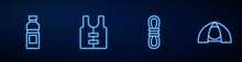 Set Line Climber Rope, Bottle Of Water, Life Jacket And Tourist Tent. Glowing Neon Icon On Brick Wall. Vector