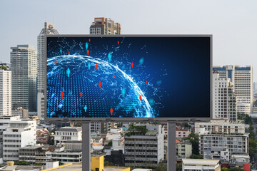 World planet Earth map hologram and social media icons on billboard over panorama city view of Bangkok, Southeast Asia. The concept of people networking and connections.