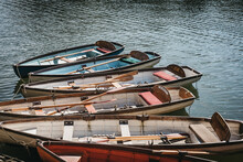 Richmond Bridge Boat Hire Wooden Boats Moored On The River Thames In Richmond, Uk.