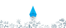 Blue Paper Plane And Business Strategy On White Background, Business Success, Innovation And Solution Concept