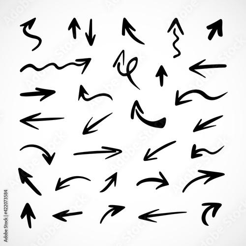 Fototapeta Vector set of hand-drawn arrows, elements for presentation obraz