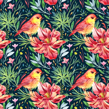 Seamless Watercolor Pattern With Bird And Flowers On A Dark Background