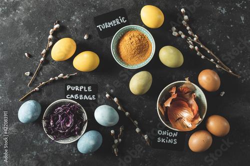 Fototapeta Easter eggs painted with dye of natural ingredients