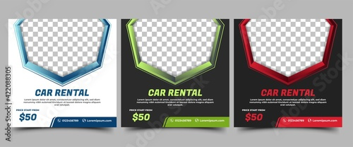 Social Media Post Template for Car Rental Promotion. Modern Banner with a blue, green, and red color frame. Vector design with place for the photo. Usable for social media, banners, and web internet.