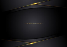 Abstract Modern Template 3D Black Stripes With Golden Lines On Dark Background