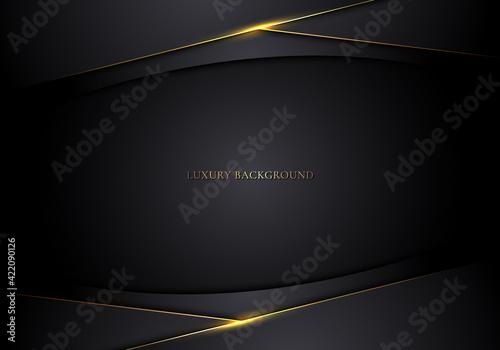 Fototapeta Abstract modern template 3D black stripes with golden lines on dark background obraz