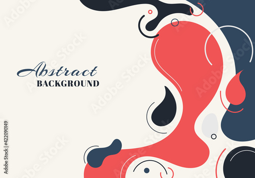 Fototapeta Abstract background liquid organic forms dynamic waves and circles, lines on white background. obraz