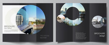 Vector Layouts Of Covers Design Templates For Trifold Brochure, Flyer Layout, Magazine, Book Design, Brochure Cover, Advertising Mockups. Background Template With Rounds, Circles For IT, Technology.