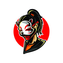 Neko Mask Girl Mascot Logo
