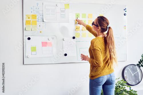 Back view of female web designer working on whiteboard in office - fototapety na wymiar