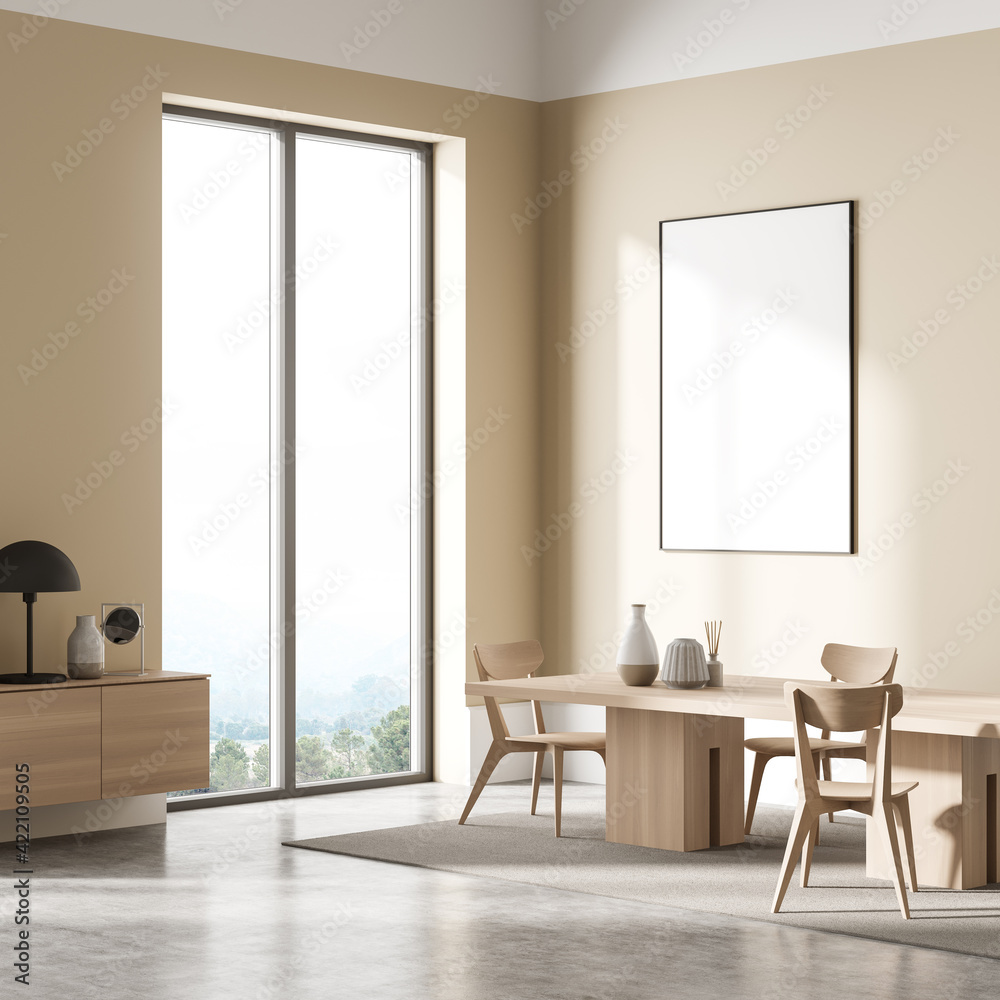 Fototapeta Beige living room interior with furniture and window, mock up