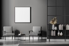Grey Living Room Interior With Armchairs And Bookshelf, Square Mock Up