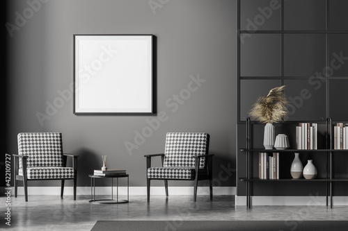 Fototapeta Grey living room interior with armchairs and bookshelf, square mock up