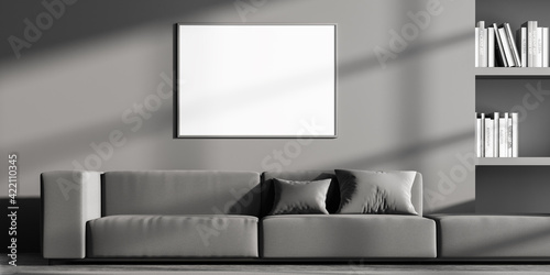 Obraz Waiting room interior with empty white poster on grey wall - fototapety do salonu