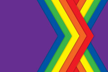 Abstract Textured Background Of Colorful Diagonal Layers Of Paper In The Pride LGBT Rainbow Colors