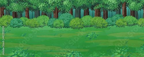 Cuadros en Lienzo 森と草原の風景イラスト_横スクロールゲームの背景_シームレス
