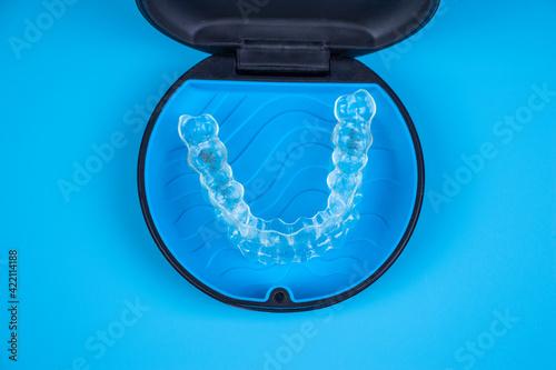 Fotografie, Obraz Invisalign transparent braces in a plastic case