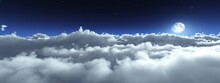 Night Cloudy Landscape, The Moon Above The Clouds, The Rising Of The Moon Among The Clouds, Lunar Landscape With Clouds, Panorama Of The Clouds At Night