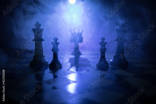 Canvastavla chess board game concept of business ideas and competition and strategy ideas concep