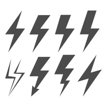 Lightning Electric Icon. Set Of Energy And Thunder Electric Icon. Vector Illustration.