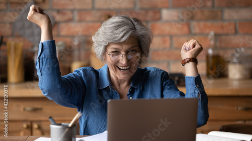 Fototapeta I did it. Excited 50s mature latin lady scream of joy delight look at laptop screen achieving success in learning computer app. Overjoyed senior woman pensioner win money prize get victory at web game obraz