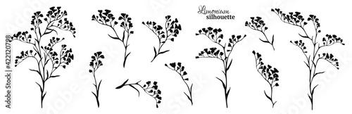 Fotografie, Obraz Set of black limonium branches. Vector illustration