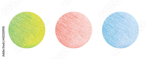 Fototapeta water color 水彩 緑 ピンク 水色 丸 円 素材 ベクター イラスト グランジ 手描き パーツ 背景 母の日 web icon assets spring circle texture image set obraz
