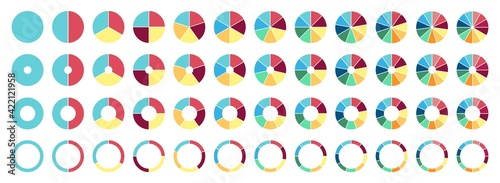 Circle pie chart. 2,3,4,5,6,7,8,9,10,11,12 sections or steps. Flat process cycle. Progress sectors.