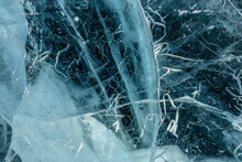 Texture Of Pure Blue Cracked Ice Of Lake Baikal. Drawings Of Nature