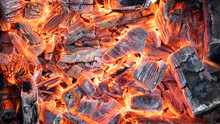 Hot Coals Are Burning. Sparks From Fire.