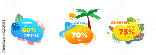 Obraz Set of Summer sale banner template. Liquid abstract geometric bubble with tropical, tree, water melon and sun. Promo badge for seasonal offer, promotion, advertising. Vector - fototapety do salonu