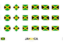Jamaica Flag Set, Simple Flags Of Jamaica With Three Different Effects.