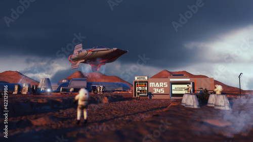 Foto 3d render. Colony of humans on a planet