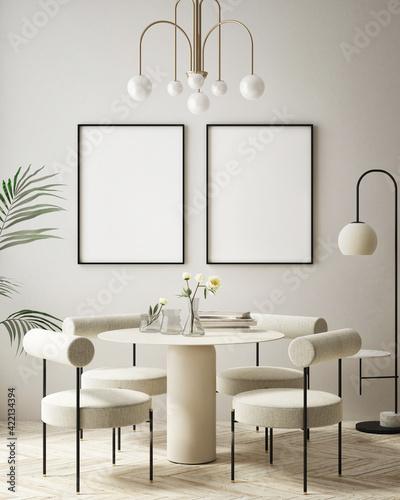 Obraz mock up poster frame in modern interior background, living room, Art Deco style, 3D render, 3D illustration - fototapety do salonu